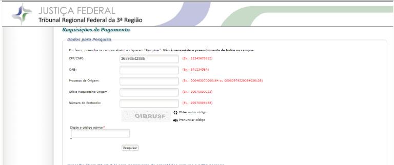Consulta de Requisições de pagamento no site do TRF3