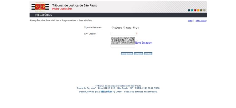 Consulta de precatórios no site do Tribunal de Justiça do Estado de São Paulo (TJSP)